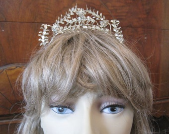Vintage 1920's Silver Metal Myrtle Flower Tiara with Matching Groom's Boutonniere ...Bridal...Wedding Head