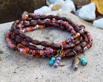 Beaded Stretch Bracelet Stack in Czech glass and Wood - Southwest Sunset Bohemian Stack