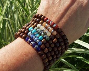 Chakra Balance Beaded Bracelets - Stretch - Rainbow Bracelets - Yoga Bracelets - Bohemian Hippie - 7 bracelets