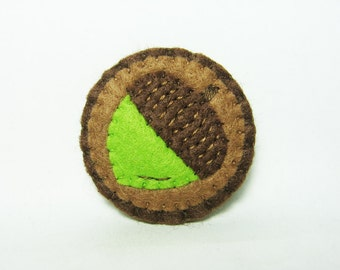 Acorn felt brooch - made to order