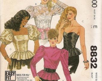 Vintage 80s Pattern -Easy Fit Peplum Tops Blouses -McCalls 8832 Size 8 -Brooke Shields Designer Sleeves Strapless Hi Fashion Holiday