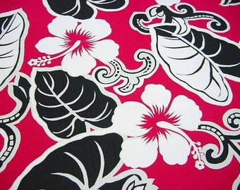 Tropical Hibiscus Decorator Fabric -White on Hot Pink -Hawaiian Trans Pacific Textiles Floral Black Home Decor Drapery Upholstery Cotton OOP