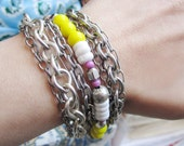 SALE! Bracelet - Vintage Silver Multi Chains and Beads - Bright Yellow, Berry, Silver, White Shell