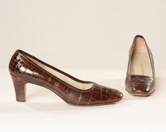 Vintage 1960s Shoes Brown Alligator High Heels 1970s Mad Men Fashions Size 7