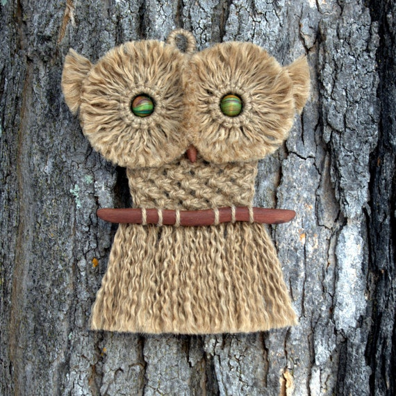 Macrame Owl Wall Hanging Made With Vintage Wood Beads And