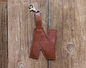 Brown leather key fob N -   Luggage Tag monogram initial letter
