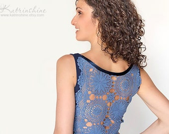 Dark blue Tank Top with upcycled vintage crochet doily back Size S