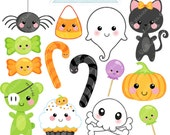 Kawaii Halloween Cute Digital Clipart - Commercial Use OK - Halloween Graphics, Digital Art, Kawaii Clipart, Halloween Clipart