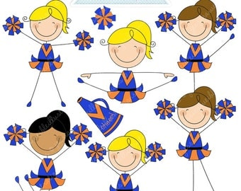 NAVY ORANGE Cheerleader Stick Figures Cute Digital Clipart for Commercial or Personal Use, Cheerleader Graphics, Cheerleader Stick Figures