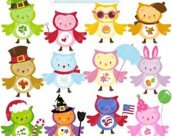 Seasonal Owls Cute Digital Clipart - Commercial Use OK - Holiday Owls, Owl Clipart, Owl Graphics, Cute Owls, Digital Art
