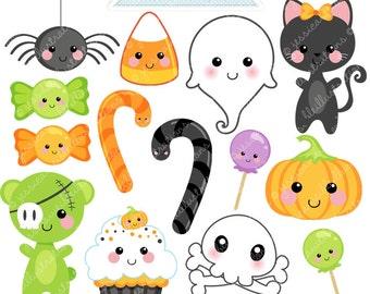 Kawaii Halloween Cute Digital Clipart - Commercial Use OK - Halloween Graphics, Digital Art, Kawaii Clipart, Halloween Clipart