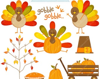 Gobblers Thanksgiving Clipart - Commercial Use OK - Thanksgiving Graphics, Turkey Clipart, Cute Thanksgiving Clipart