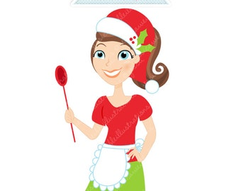 Christmas Baker Character Illustration, Cartoon Illustration, Woman Cooking, Christmas Character, CHOOSE Your Colors