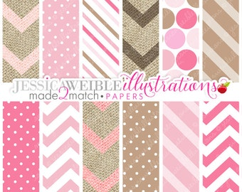Pink Pony Cute Digital Papers Backgrounds for Personal and Commercial Use, Pink Chevron Patterns, Pink Burlap Backgrounds