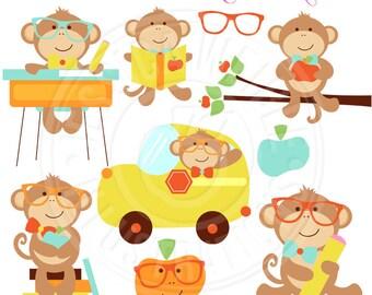 Classroom Boy Monkeys Cute Digital Clipart - Commercial Use OK - Monkey School Clip Art - Classroom School Graphics