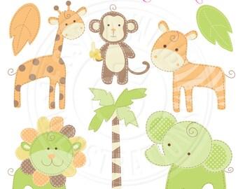Green & Orange Baby Pastel Safari Cute Digital Clipart - Commercial Use OK - Baby Safari Clipart - Green Safari Animal Graphics