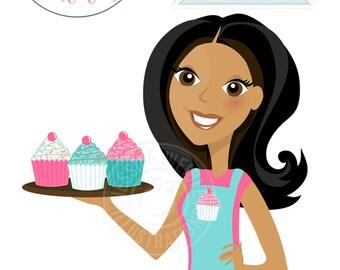 DARK Woman with Cupcakes, Cupcake Baker Character Illustration - Cute Cupcake Girl, Woman Wearing Apron Holding Cupcakes