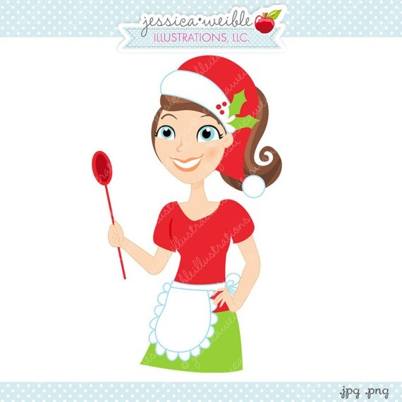 Christmas baker character illustration cartoon illustration woman