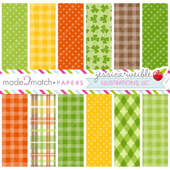 Leprechaun Kids Cute Digital Papers - Commercial Use OK - St. Patrick's Day Digital Backgrounds