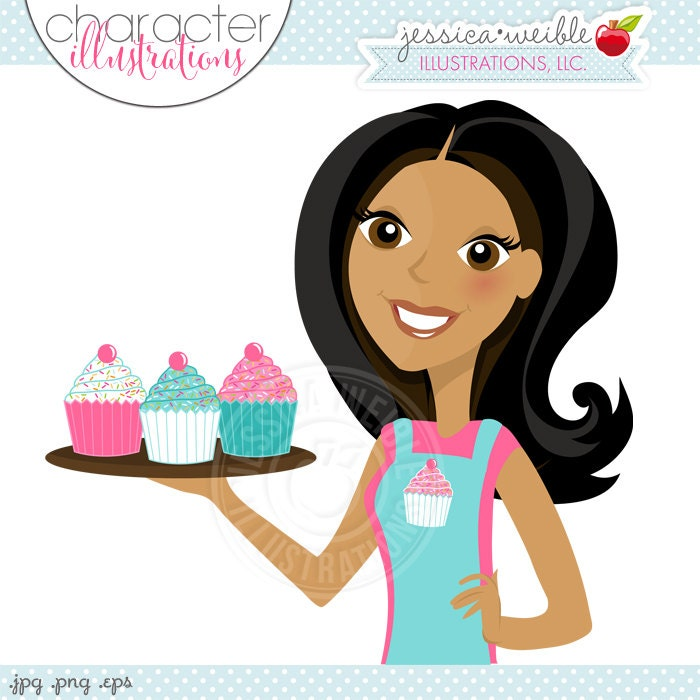 Woman Decorating Cupcakes dark woman with cupcakes cupcake baker character illustration