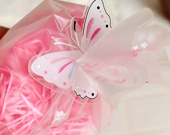 10 Clear Ties - White Butterfly (1.8 x 1.4in)