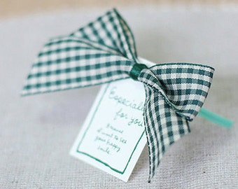 5 Check Ribbon Tag Twist Ties - Green (3.1 x 2.4in)