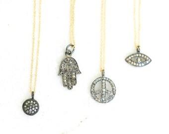 Diamond Necklace Good Luck Hamsa Peace Evil Eye Boho