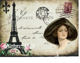 Harrison Fisher Altered Art Travel Postcard Downloadable, Printable, Digital Art Image.Instant Download Print and Frame