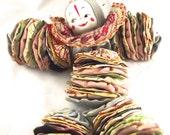 Sale 50% Off Vintage Clown Doll, Handmade Fabric Scrap Style Doll
