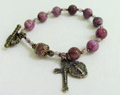 Purple Crazy Lace Agate Rosary Bracelet with solid Bronze Toggle and medals