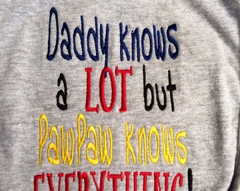 "IN STOCK Baby Bib ""Daddy knows a lot but PawPaw knows EVERYTHING!"" Grey bib/Ready to Ship"