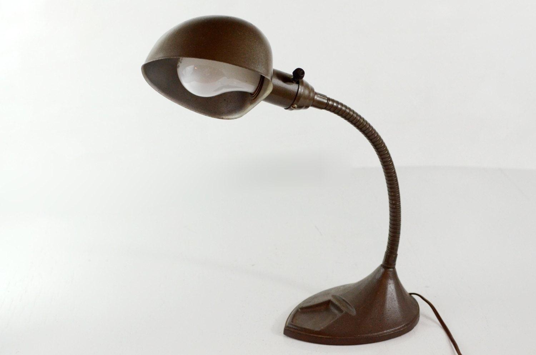 Vintage Gooseneck Lamp Metal Table Lamp Brown Art Deco Desk
