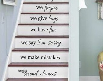 Family Vinyl Wall Decal- In this house Vinyl Wall Decal Staircase