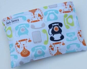 Reusable Eco Friendly Sandwich or Snack Bag Retro Telephones