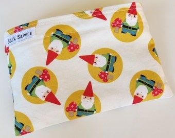 Reusable Eco Friendly Sandwich or Snack Bag Cute Gnomes