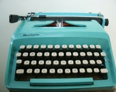 RESERVED FOR TERRY. Turquoise Blue 1960's Remington Typewriter. Vintage typewriter. Works great!