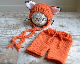 Fox Hat Baby Bonnet and Shorts Set Knitted Photo Prop, Newborn, 0-3 Months, Knit Shorties Diaper Cover, Infant Gift, Orange, White, Black