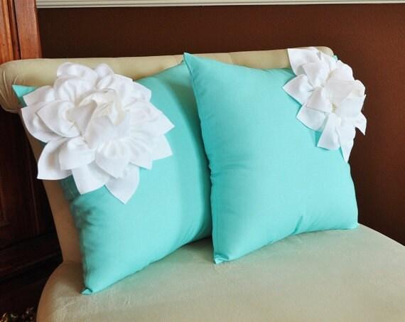 two decorative pillows white corner dahlia on aqua by bedbuggs. Black Bedroom Furniture Sets. Home Design Ideas