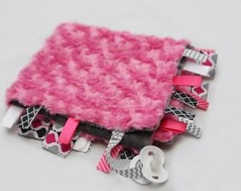 Baby Ribbon Tag Blanket - Minky Binky Blankie - Pink Swirl
