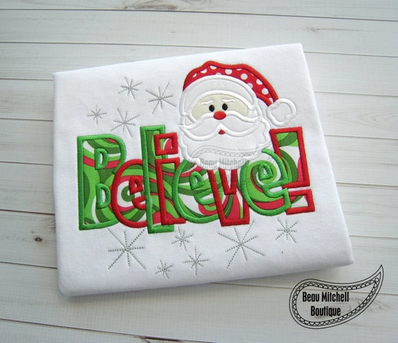 santa believe applique embroidery design