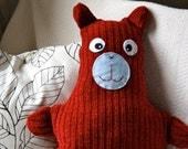 Red Chenille Holiday Sweater Bear says Yo-Ho-Ho