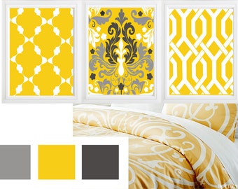 Beautiful  Design for your home:) Set of 3 - mustard yellow grey wall art