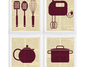 Kitchen art Vintage look - old newspaper background -Instant Download-Home Decor- 8x10  Files -Print it yourself:)