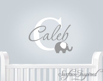 Nursery Wall Decals Elephant Name Monogram Wall Decal - monogram wall decal with modern elephant and personalized name.