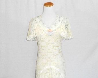 White Lace Dress Women's Dresses Sheer Lace Dress Women's Vintage Dresses 70's Dress Long White Dress