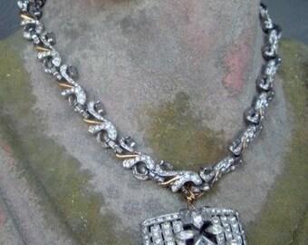 Gorgeous Bridal or Black Tie Affair Necklace. Antique annd Vintage components - clasp closure.