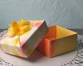 Origami Box Handmade 3x3 Watercolor Paper Folded Box small 2 Piece Box