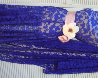 """60"""" Wide Stretch Royal Blue Tulle Lace with Oversized Floral Pattern Blue Fabric Formal Fabric Blue  Lace 12 JM5"""