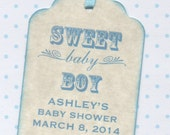 20 Baby Shower Favor Tags / Sweet Baby Boy / Baby Tags / Gift Tags / Place Cards / New Baby Labels / Blue - Vintage Style