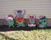 Handmade custom painted wooden  Singing mice for your yard- Set of 4